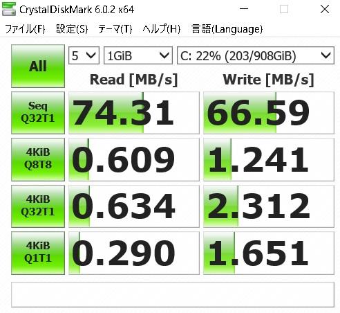 HDD状態での読み書きの測定値