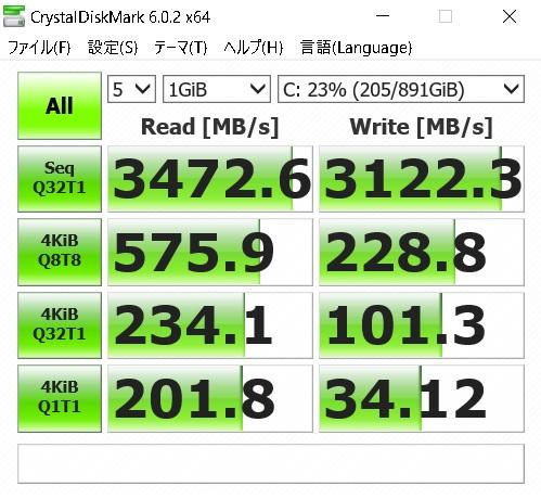 860QVOをRAPIDモードにして速度を測定