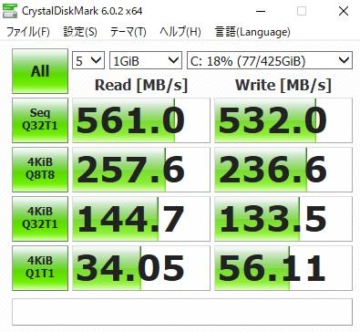 VS370SSシリーズをSamsung製SSD、860QVOに換装後の読み込み・書き込み速度を測定した結果